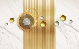 Free 3d Modern Wall Art Decor . White Marble In Background And 3d Golden And Silver Sphere And Golden Circles . Stock Image - 217838571