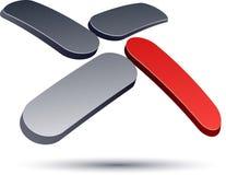 3D modern X logo icon. Royalty Free Stock Photos