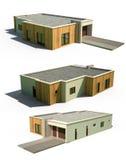 3d moderne buitenkant van de huisvoorzijde Stock Afbeeldingen