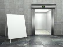 3d moderne lift met leeg frame Royalty-vrije Stock Afbeelding