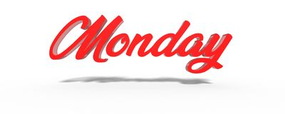 3D Monday Red White Background. Stock Photos