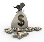 3d money bag and dollar packs Stock Images
