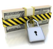 3D Money and lock. Data security concept. 3d illustration of Money and lock. the lock closed on the money Royalty Free Stock Image