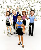 3D money rain Stock Images