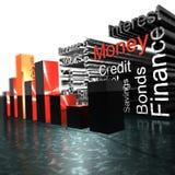 3d Money Statistics. Finance Money crisis 3d diagram Royalty Free Stock Image