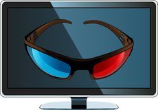 3D monitor and glasses Royalty Free Stock Photography