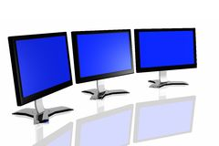 3d monitors. Isolated in white background Stock Images