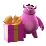 3D monster with present - humorous character. Cute 3D cartoon character with birthday or Christmas gift isolated on white background, modern greeting cards Stock Photography