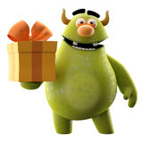 3D monster with present - humorous character. Cute 3D cartoon character with birthday or Christmas gift isolated on white background, modern greeting cards Royalty Free Stock Images