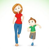 3d Mother and Son Running vector illustration