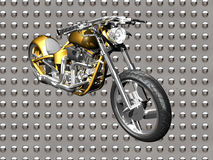 3D Motorcycle. On chrome background Stock Images