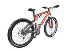 3D Mountain bike red rear view. Isolated on white Royalty Free Stock Photos