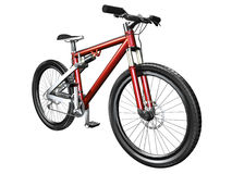 3D mountain bike on white front Stock Photo