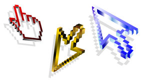 3d mouse cursors. 3d mouse cursor collection, vector illustration Stock Photography