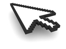 3D mouse Pointer. On white background with shadow and clipping path Royalty Free Stock Photo