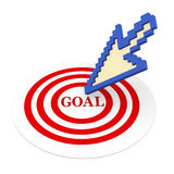 3d mouse pointer on goal target. 3d illustration of mouse pointer pointing to target having text goal Stock Photography
