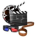 3D Movie. Illustration of clap board with film reel and 3D movie glasses Stock Images