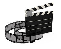 3d movie clapper board. On white background Stock Photography