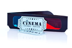 3D Movie Glasses and Tickets. Cardboard 3D movie glasses and cinema tickets Stock Photo