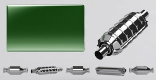 3D of mufflers collection and green plate Royalty Free Stock Image