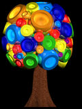 3D multi coloured tree Stock Photos