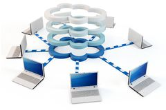 3d multi-layer Cloud computing concept. 3d Cloud computing concept. Client computers communicating with resources located in the multi-layer cloud Royalty Free Stock Photo