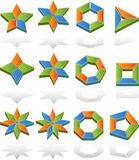 3D Multi-Sided Diagrams. 3d shapes with segments for describing business models Royalty Free Stock Images