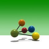 3d multicolor molecule. Multicolor molecule with green background - 3d render royalty free illustration