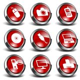 3D Multimedia & Technology Icons Set 1 Royalty Free Stock Photo