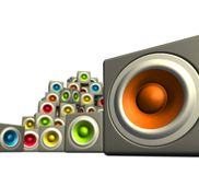 3d multiple color cubic sound system woofer. 3d stack of multiple color cubic sound system woofer on white Royalty Free Stock Photography