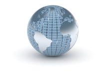 (3d) Mundo no azul e no metal Fotografia de Stock Royalty Free