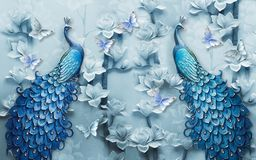Free 3d Mural Background Blue Peacock On Branch Wallpaper . With Flowers Stock Image - 154337041