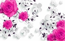 Free 3d Mural Flowers Background With Circles Wallpaper For Walls . With Pink Flowers And Gray Silver Background Stock Photos - 163890993