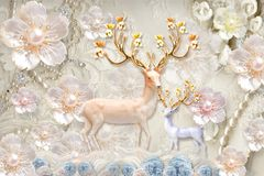 Free 3d Mural Flowers Background With Deer And Circle Wallpaper For Walls . With Golden Tree Flowers And Jewelery  Background . Stock Photo - 158250940