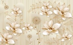 Free 3d Mural Illustration Background With Golden Dandelion Flowers , Circles Simple Golden Decorative Wallpaper Stock Photography - 196057802