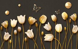 Free 3d Mural Tulip Flowers With Golden Butterfly And Pearl In Dark Background Stock Photography - 181163052