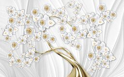 Free 3d Mural Wallpaper Abstract  Gray Background  Tree With Golden Stem And Flowers  . Will Visually Expand The Space In A Small Room, Stock Images - 194864474
