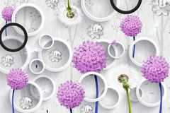 Free 3d Mural Wallpaper Abstract With Gray And Black Circles And Purple Pink Flowers . Silhouettes Of Dandelions Pattern On Decorative Royalty Free Stock Photos - 163824508