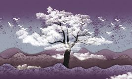 Free 3d Mural Wallpaper . Mountain , White Birds In Sky With Black Tree In Clouds . Light Purple Background Stock Photo - 167546510
