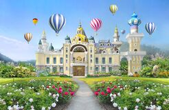 Free 3d Mural Wallpaper Palace With Garden And Flowers Landscape . Colored Air Balloons In The Sky . Suitable For Childrens Wallpaper Royalty Free Stock Images - 180938889