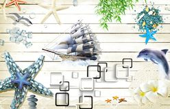 Free 3d Mural Wallpaper Sea Composition With Boat And Shells, Sea Star Ship Dolphin On Wooden Background Royalty Free Stock Photos - 166284538