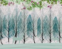 Free 3d Mural Wallpaper Trees In Winter Snow With Branches And Flowers . Deer Birds With Flat Modern Simple Background Royalty Free Stock Image - 166176446