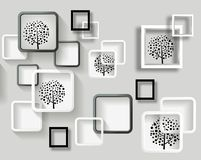 Free 3d Mural Wallpaper With Gray Background And Flower , Squares , Circles , Butterfly And Tree Modern Simple Background Stock Images - 165835334