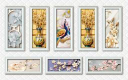 Free 3d Mural Wallpaper With Silver Frames And Flowers In Tree Branches With Flowers And Vases And Peacock In Silver Leather Royalty Free Stock Images - 184826269