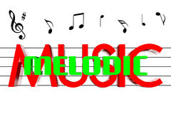 3D Music melodic. Melodic in the center of the music 3D Royalty Free Stock Photography