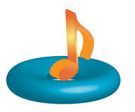 3D MUSIC NOTE. Symbol with white background Royalty Free Stock Photo