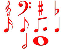 3D Music Notes Royalty Free Stock Photos