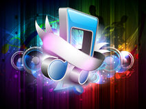 3D music notes with ribbon. stock illustration