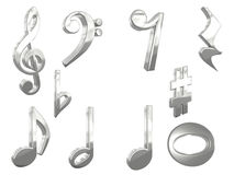 3D Music Pack. 3D rendered silver music notes Stock Image