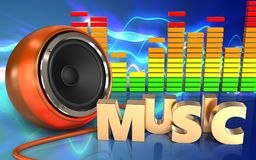 Free 3d Music Sign Orange Speaker Royalty Free Stock Images - 99492389